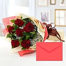 6 Red Roses Bouquet With Greeting Card: Flower Delivery in UAE