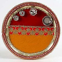 Decorated Red and Yellow Steel Pooja Thali: Karwa Chauth Presents to UAE