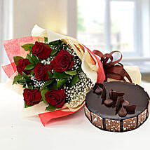 Elegant Rose Bouquet With Chocolate Fudge Cake: Mother's Day Flowers N Cakes to UAE