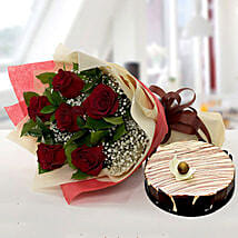 Enchanting Rose Bouquet With Marble Cake: Mothers Day Flower and Cakes to Dubai