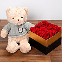 Idyllic Red Roses and Teddy Bear: Send Birthday Gifts to UAE