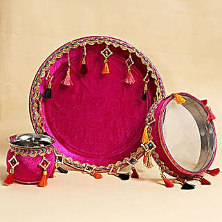 Karwa Chauth Purple Thali Set with Tassels: Karwa Chauth Presents to UAE