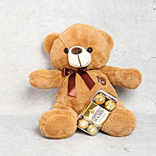 Light Brown Teddy Bear and Ferrero Rocher Chocolate Box: Soft Toys to UAE