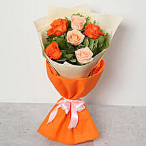 Orange and Peach Roses Bouquet: Send Flower Bouquets to UAE