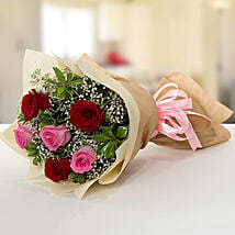 Pink and Red Roses Bouquet: Valentine's Day Gift Delivery in UAE