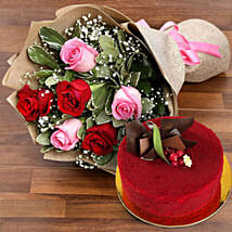 Pink and Red Roses with Red Velvet Cake: Dubai Flower Delivery