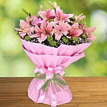 Pink Roses and Lilies Bouquet: Rose Day Gift Delivery in UAE