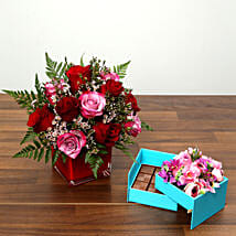 Red and Pink Roses With Belgium Chocolates: Valentine's Day Chocolate Delivery in UAE