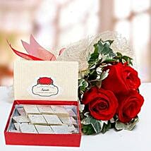 Red Roses Bouquet and Kaju Katli Combo: Sweet Delivery in UAE