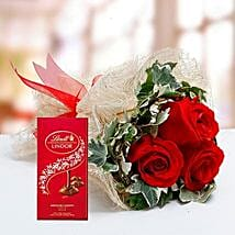 Red Roses Bouquet and Lindt Chocolate Combo: Send Flowers to UAE