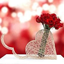 Red Roses in Heart Base: Valentine's Day Rose Delivery in UAE