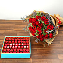 Rose Bouquet and Heart Shaped Chocolate Combo: Valentine's Day Flower Bouquets UAE