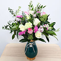Roses N Carnations in Glass Vase: Send Mothers Day Gifts to UAE
