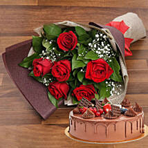 Elegant Rose Bouquet With Chocolate Fudge Cake: Mother's Day Gift Delivery in UAE