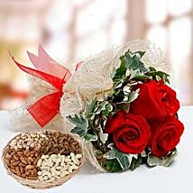 Velvety Rose Bouquet and Dry Fruits Combo: Send Mother's Day Flower and Dry Fruits to UAE