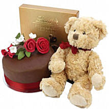 Chocolate Rose Cake With Bear And Lindt: Send Cakes to Edinburgh