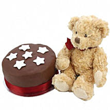 Chocolate Star Cake With Bear