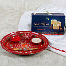 Ek Onkar Rakhi Sweet with Pooja Thali: Send Rakhi Pooja Thali to UK