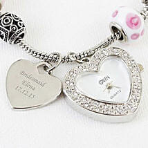 Personalized Pink Watch Charm Bracelet: Send Gifts to Manchester, UK