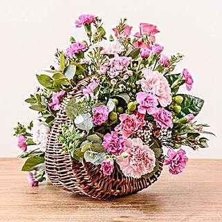 Pink Basket Arrangement: Send Carnations to Uk