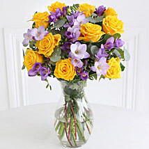 Rose n Freesia Bouquet: Anniversary Flowers to UK
