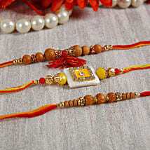 Yellow Stone Sandalwood Rakhi Set: Rakhi for Brother - UK