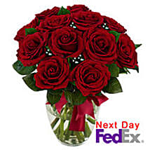 12 stem Red Rose Bouquet: Send Valentine Gifts to Madison