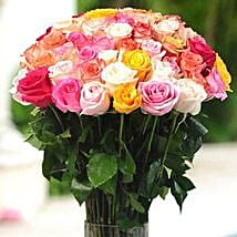 36 Multicolor roses in Vase: Same Day Flower Delivery in Atlanta