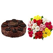 Chocolate Cake with Assorted Roses: Father
