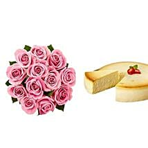 NY Cheescake with Pink Roses: Flowers and Cakes to California