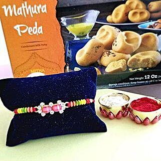 Rakhi And Peda Combo: Rakhi With Sweets to USA