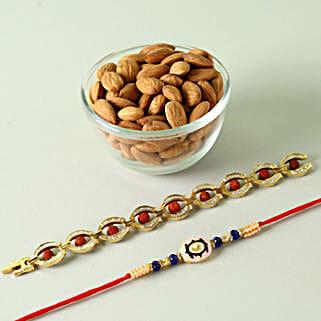 Set of 2 Rakhis And Almonds Combo: Send Rakhi to Sunnyvale