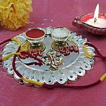 Silver Coated Fancy Thali: Send Bhai Dooj Gifts to USA