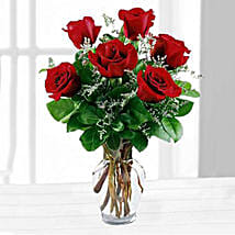 Six Red Roses In A Vase: Send Flowers to USA