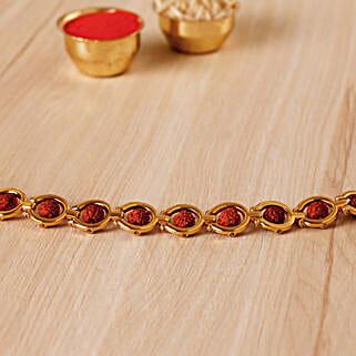 Divine Golden Red Rudraksh Bracelet: Rakhi to Los Angeles
