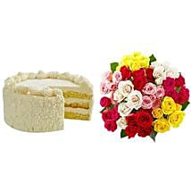 Vanilla Cake with Assorted Roses: Cake Delivery in USA